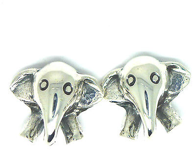 Sterling Silver Elephant Head Stud Earrings
