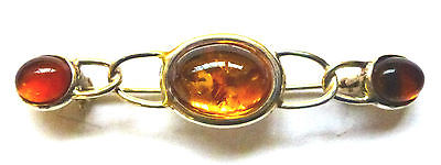Sterling Silver  Fancy  Brooch with Real Amber                            B30795