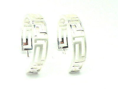 Sterling Silver Greek Key  Hoop Stud Earrings                              5160