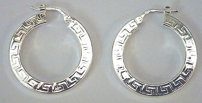 Sterling Silver Greek Key Pattern Creole Hoop Earrings                    B26657