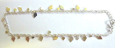 Sterling Silver Hanging Diamond Shapes Ankle Chain / Anklet               B15274