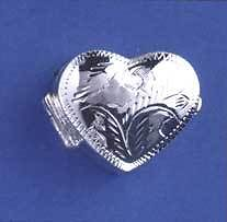 Sterling Silver  Heart Shape Engraved Pillbox