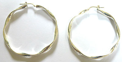 Sterling Silver Large Ribbon Twist Hoops                                  B68108