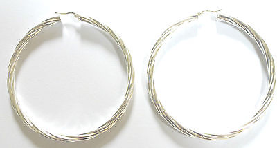 Sterling Silver Large Twist Patterned Hoops                               B68105