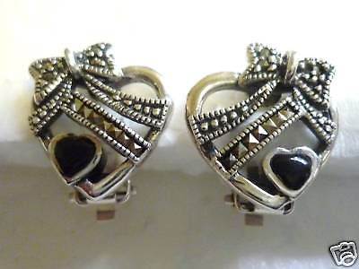 Sterling Silver Marcasite  Clip on Heart Earring