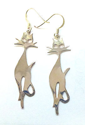 Sterling Silver Polished Cat Drop Earring                                B68641