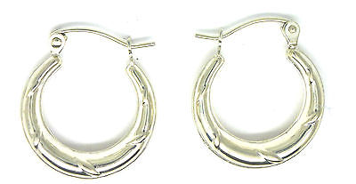 Sterling Silver Round Creole Style Hoop Earrings with Stripe Detail        55548