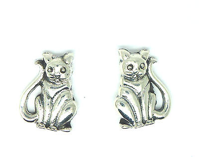 Sterling Silver Sitting Cat Stud Earrings - 121336506377