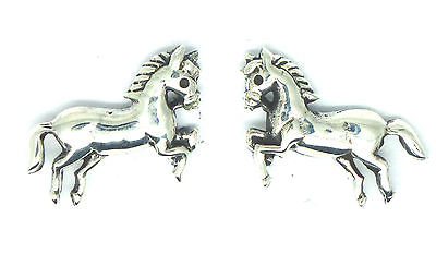 Sterling Silver Sitting Prancing Pony / Horse Stud Earrings