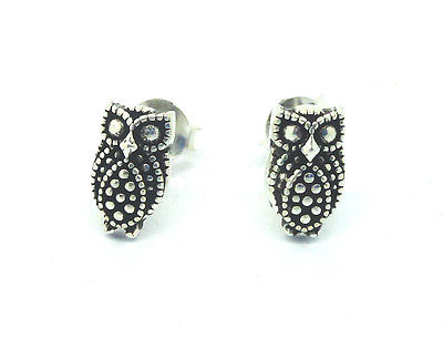 Sterling Silver Small Owl Stud Earrings