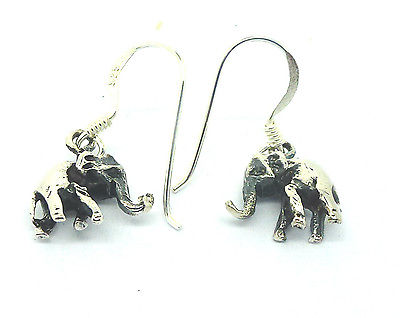 Sterling Silver Solid Elephant Drop Earrings