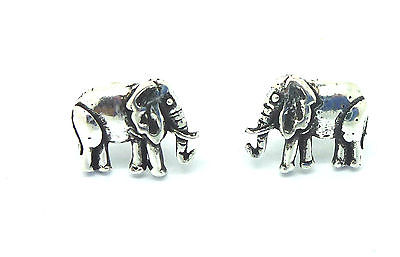 Sterling Silver Standing  Elephant Stud Earrings