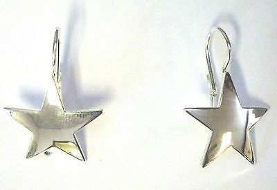 Sterling Silver Star Earrings on Continental Spring Back Fitting          B69882