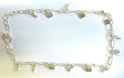 Sterling Silver Tiny Hanging Padlocks and Keys Ankle Chain / Anklet       B15275