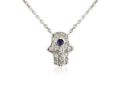 Sterling Silver Trace Chain Necklace with Cubic Zirconia Hamsa Pendant   201