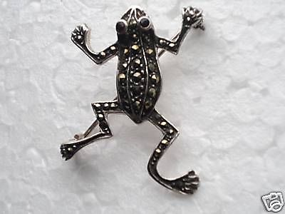 Sterling silver. Marcasite and Onyx jumping Frog Brooch